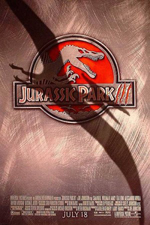 Jurassic Park III movie poster showing the shadow of a pteradactyl on a brushed alumninum plate with the movie name as a logo with the roman numeral three looking like scratches from talons