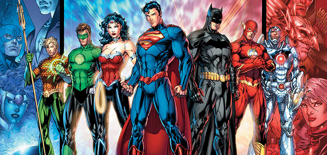 colorful Justice League costumes