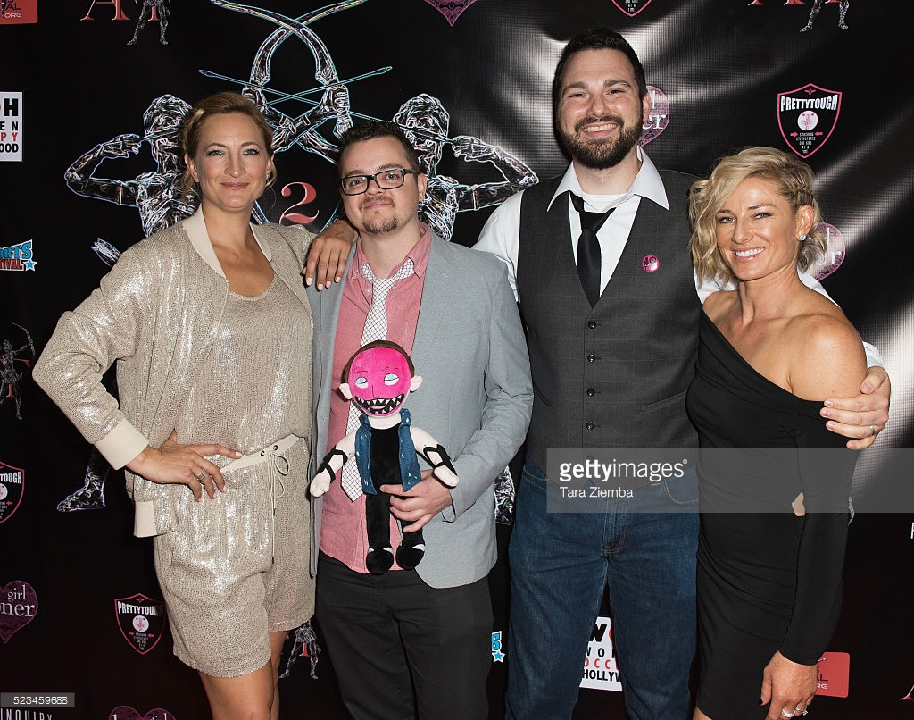 Zoe Bell, Adam Davis, Will Corona Pilgrim, and Heidi Moneymaker on the red carpet at the 2016 Artemis Women in Action Film Festival