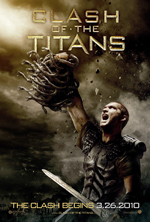 Clash of The Titans movie poster showing Perseus with his sword screaming as he hold up the severed head of Medusa to kill the Kraken
