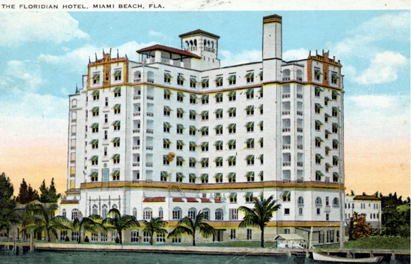 postcard of Biscaya Hotel originall called The Floridian