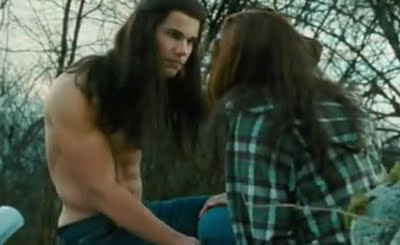 Taylor Lautner as Jacob Black with long hair