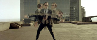 The Matrix movie agent dodging bullets