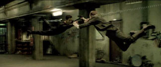 The Matrix movie Neo and Agent Smith airfight