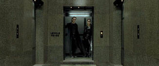 The Matrix movie Neo and Trinity ride the elevator
