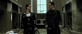 The Matrix movie Neo and Trinity share a look