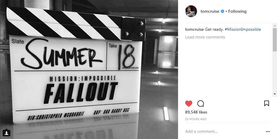 Tom Cruise's first photo on instagram, clapperboard with movie title and summer 18