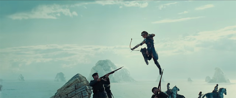 General Antiope takes aim with two arrows in Wonder Woman