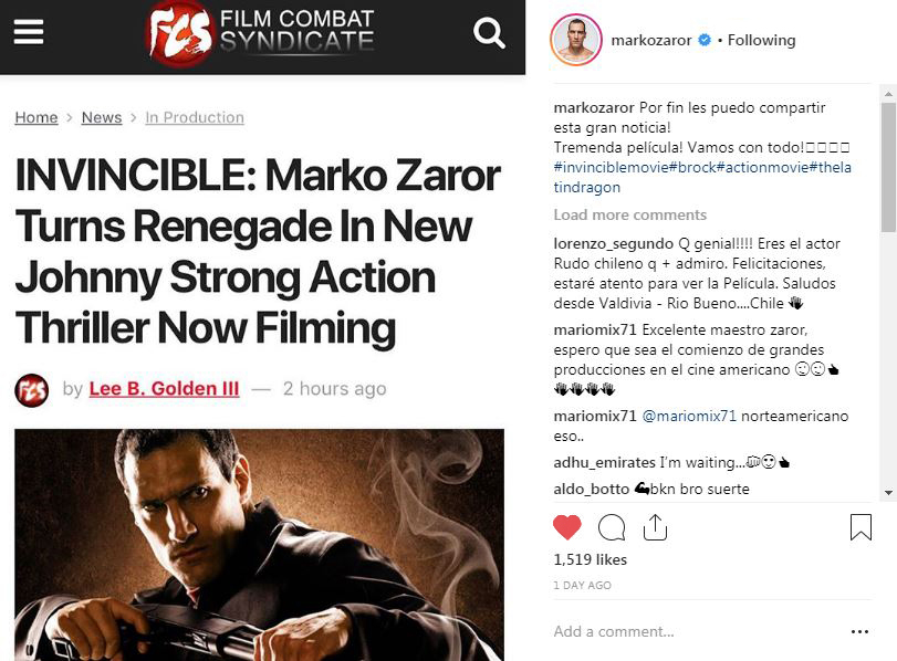 Marko Zaror will star with Johnny Strong in Invincible