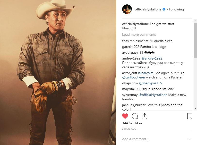 Sylvester Stallone in cowboy gear for Rambo V