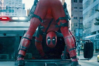 Sword-in-the-foot hood riding scene from Deadpool 2