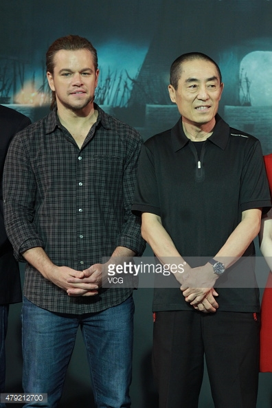 Getty Image of Matt Damon and Zhang Yimou