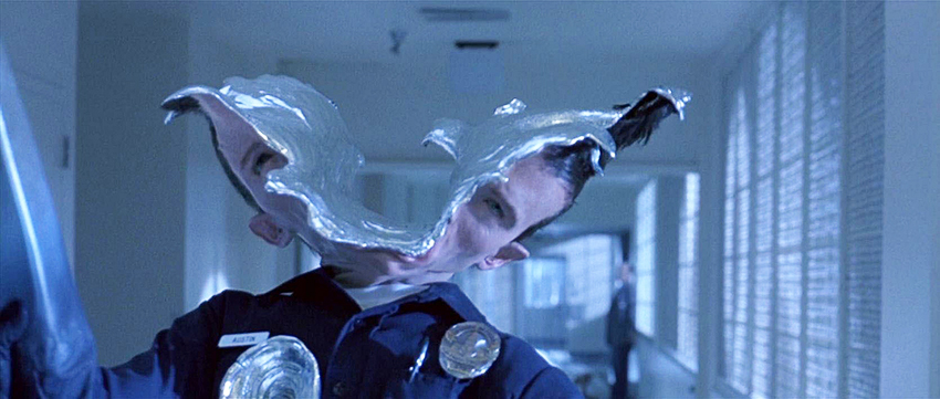The T-1000 with head split open Terminator 2
