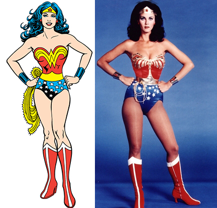 Wonder Woman comic side by side with Lynda Carter