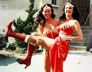 Jeannie Epper, Lynda Carter's Wonder Woman stunt double, holds her like a bride