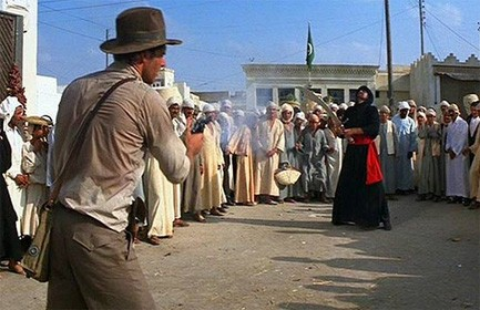 Raiders of the Lost Ark scene where Indy shoots the man with the big knife