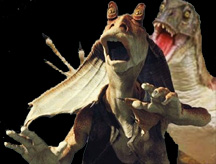 raptor attacking Jar Jar Binks