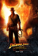 Indiana Jones and the Kingdom of the Crystal Skull movie poster showing Indy with his whip standing backlit by a glowing crystal skull